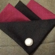 Burgundy and Black Hankie With Black Flap and Pin